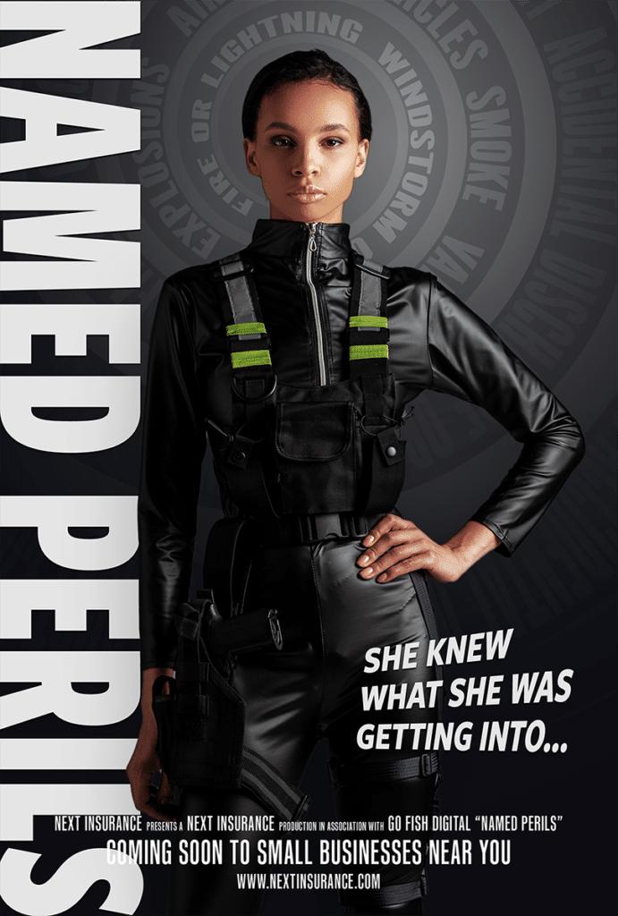 "Spy movie poster symbolizing the insurance term ""Named perils"""