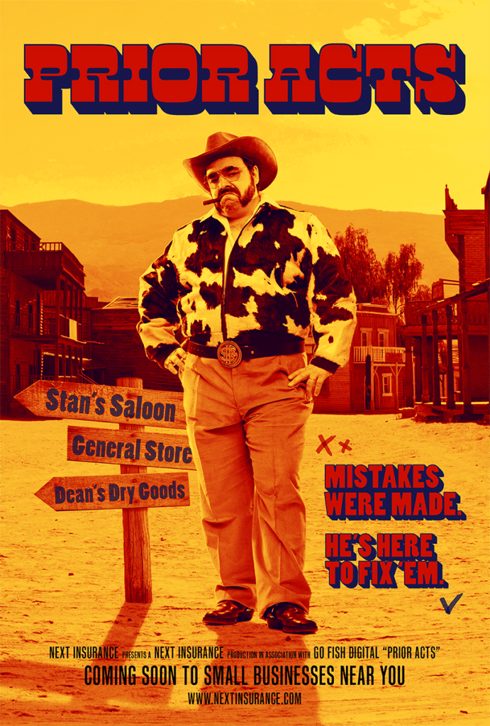 """Western movie poster concept for the insurance term """"Prior acts"""""""