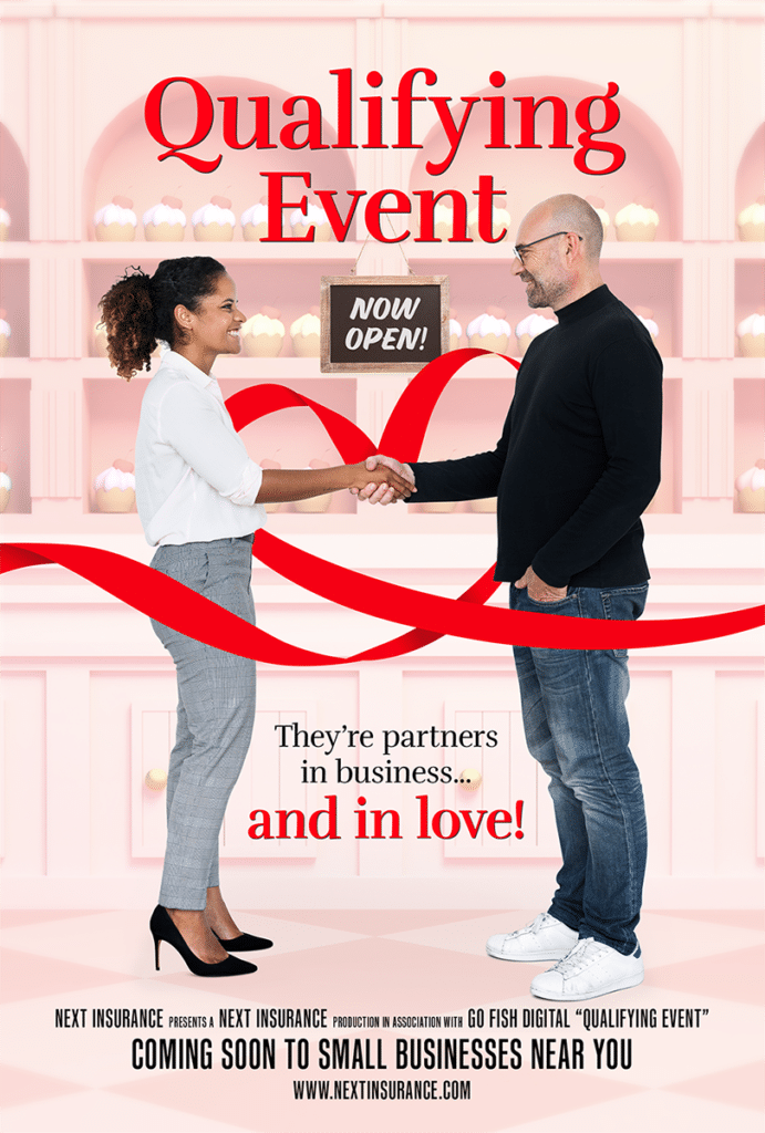 """Romance movie poster idea personifying the insurance term """"Qualifying event"""""""