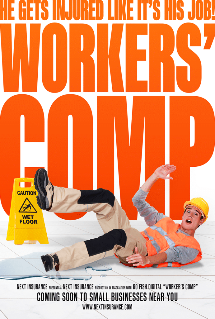 """Comedy film poster representing the concept of """"Workers' comp"""""""
