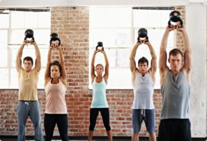 Personal trainers class in a studio